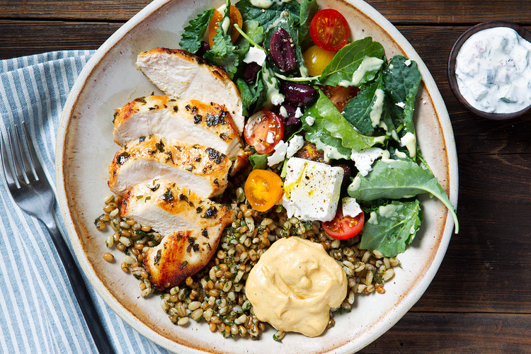 Greek Chicken with Wheat Berry & Kale Salad