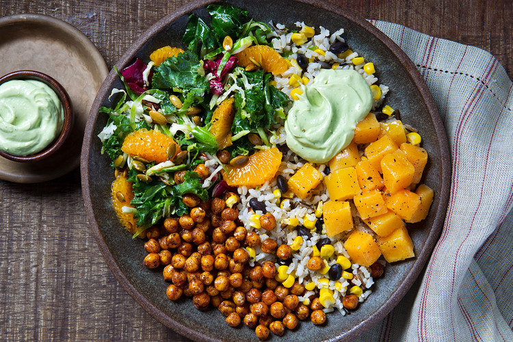 Spiced Chickpeas with Black Bean Rice & Mexican Kale Salad